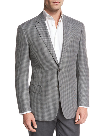 Textured Check Two-Button Sport Coat, Black/White