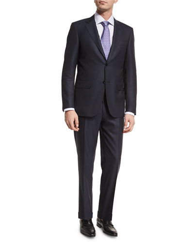 Textured Solid Wool Two-Piece Suit, Black