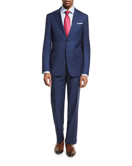 Textured Solid Wool Two-Piece Suit, Blue