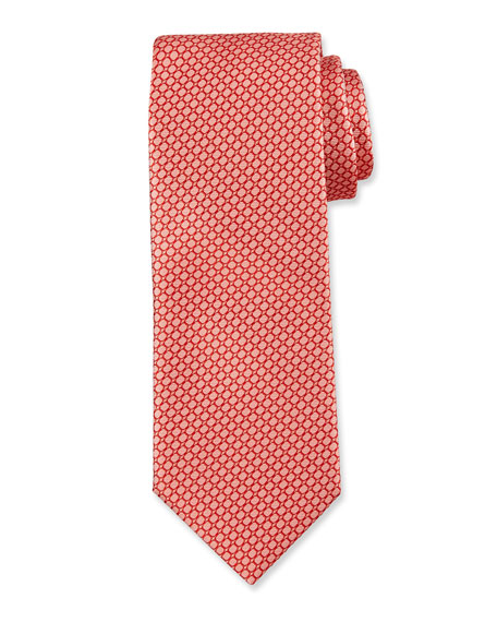 BOSS Wave-Pattern Silk Tie, Orange