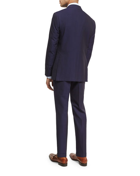 Seersucker Cotton Two-Piece Suit, Navy