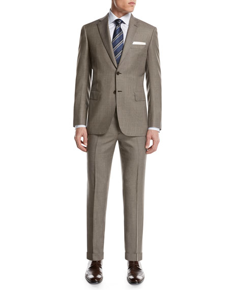 Micro-Check Wool Two-Piece Suit, Tan