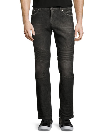 Versace Collection Dark-Wash Denim Moto Jeans, Black