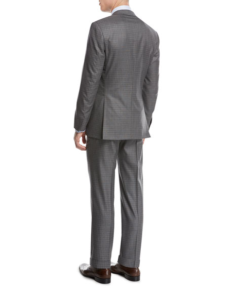 Super 160s Wool Box-Check Two-Piece Suit, Light Gray