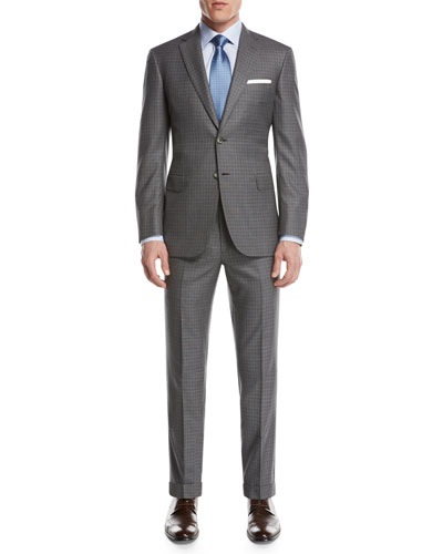 Super 160s Wool Box-Check Two-Piece Suit  Light Gray