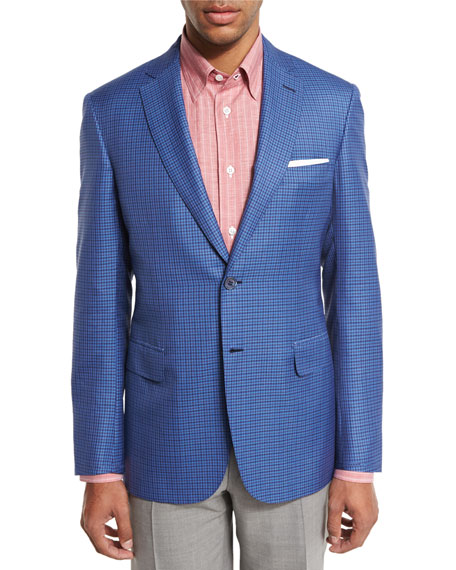 Check Two-Button Sport Coat, Light Blue/Red