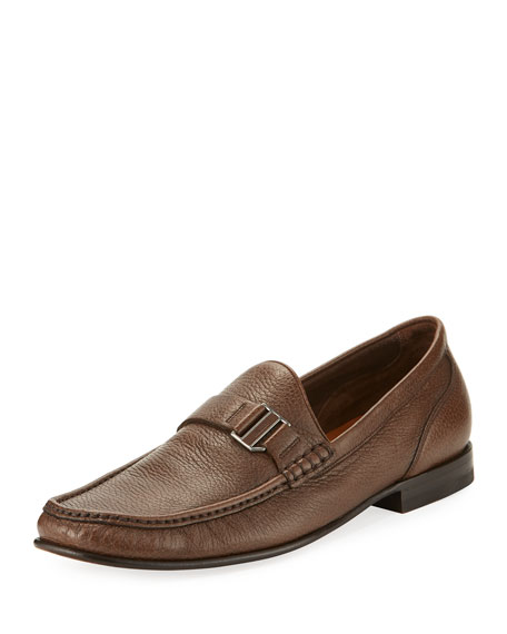 Suver Grained Leather Moccasin Loafer