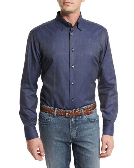 Brioni Tonal Glen Plaid Sport Shirt, Steel Blue
