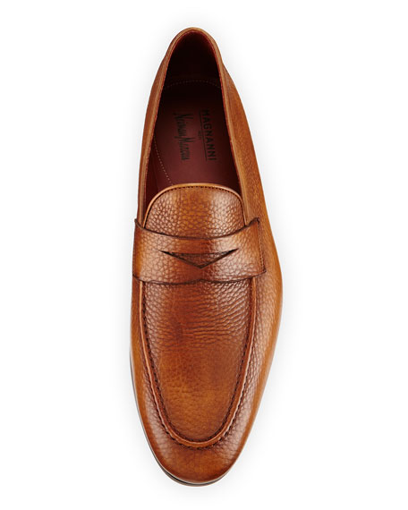 Pebbled Leather Penny Loafer, Cognac