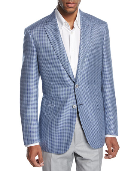 Brioni Check Wool-Silk Two-Button Sport Coat, Blue/White