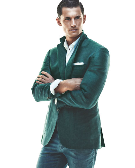 Solid Wool-Silk-Linen Two-Button Blazer, Teal Green/Blue