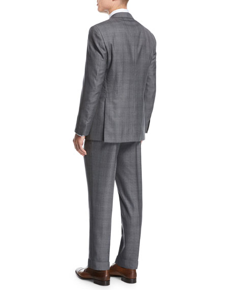 Windowpane Wool-Silk Two-Piece Suit, Gray