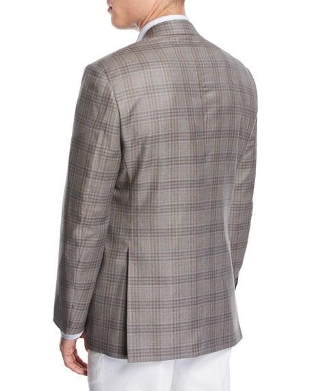 Plaid Wool Two-Button Sport Coat, Taupe