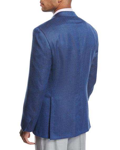 Textured Wool-Silk Two-Button Sport Coat, Blue