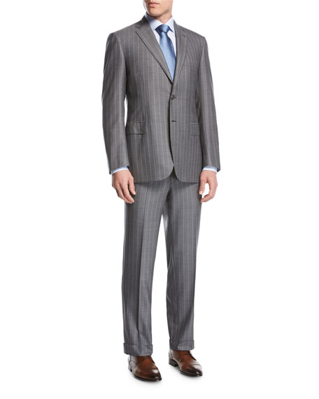 Striped Super 160s Wool Two-Piece Suit, Gray