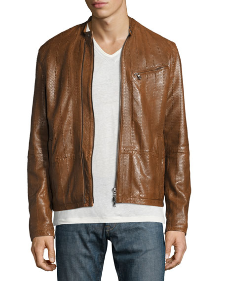 John Varvatos Star USA Laser-Cut Leather Racer Jacket,