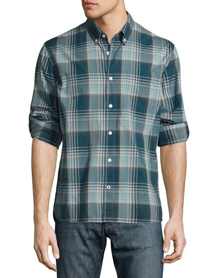Slim-Fit Plaid Sport Shirt, Blue