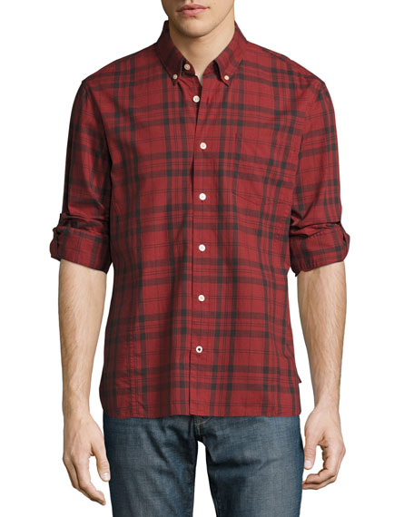 Plaid Slim-Fit Sport Shirt, Red