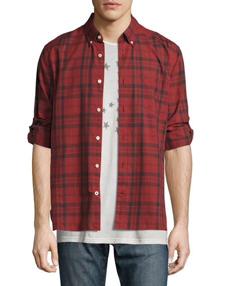 John Varvatos Star USA Plaid Slim-Fit Sport Shirt,