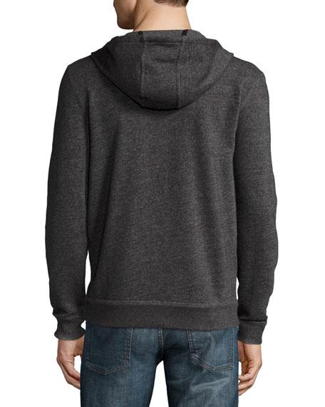Marled Knit Zip Hoodie, Black