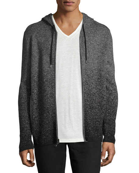 John Varvatos Star USA Degrade Zip-Front Hoodie, Charcoal