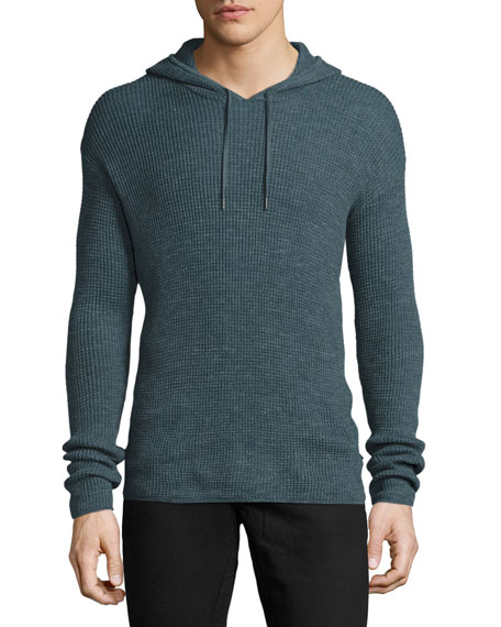 John Varvatos Star USA Waffle-Knit Pullover Hoodie, Dusty Blue
