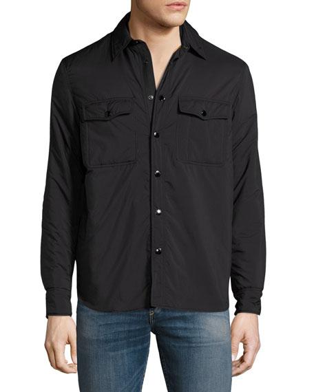 Point Snap-Front Shirt Jacket, Black