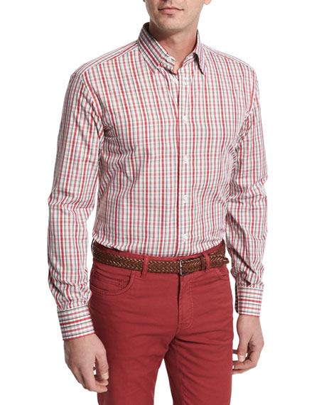 Brioni Plaid Cotton Sport Shirt, Red/Tan