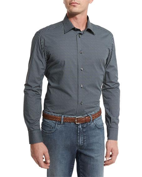 Brioni Geometric-Print Sport Shirt, Navy Blue/Green
