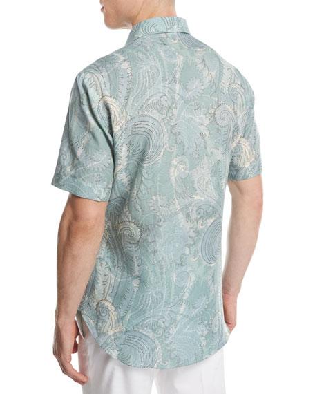 Large Paisley Short-Sleeve Sport Shirt, Green