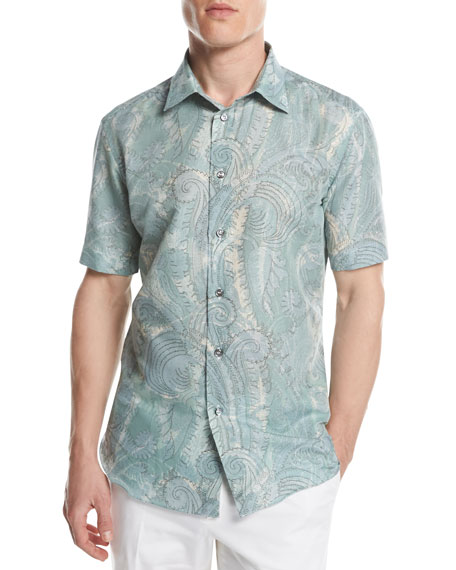 Large Paisley Short-Sleeve Sport Shirt, Green