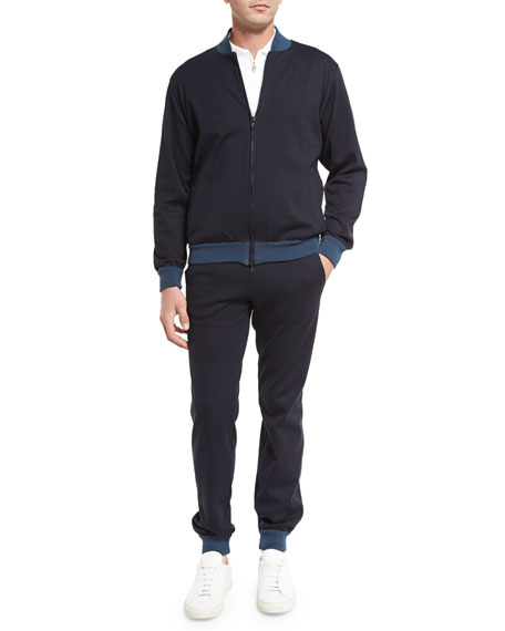 Two-Tone Track Suit, Navy Blue