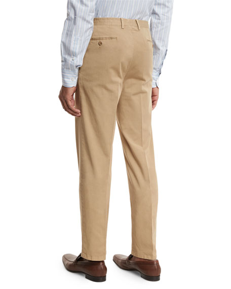 Washed Flat-Front Trousers, Khaki