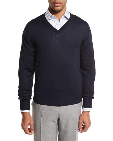 Essential Fine-Gauge V-Neck Sweater, Navy Blue
