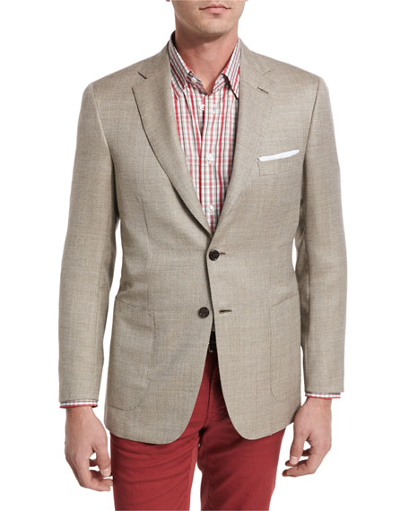 Textured Wool-Silk Two-Button Blazer, Tan