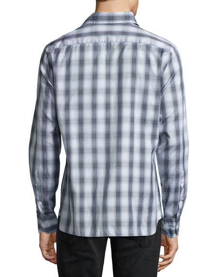 Plaid Cotton Sport Shirt, Gray/Blue
