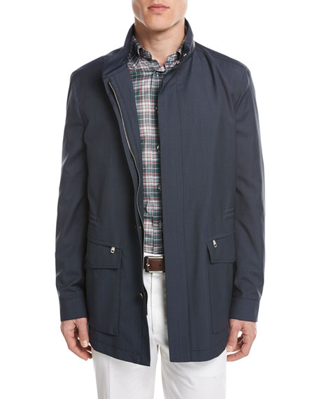 Micro-Check Wool Field Jacket, Blue
