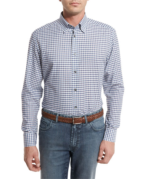 Brioni Graph-Check Sport Shirt, Blue/White