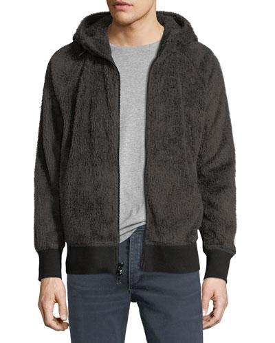 Teddy Faux Fur Zip-Front Hoodie