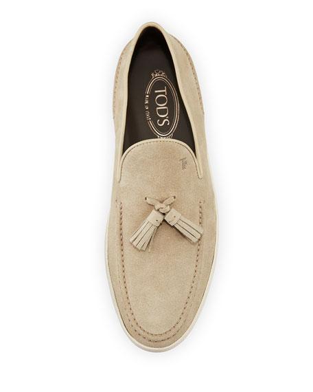 Men's Suede Casual Sport Loafer, Light Beige