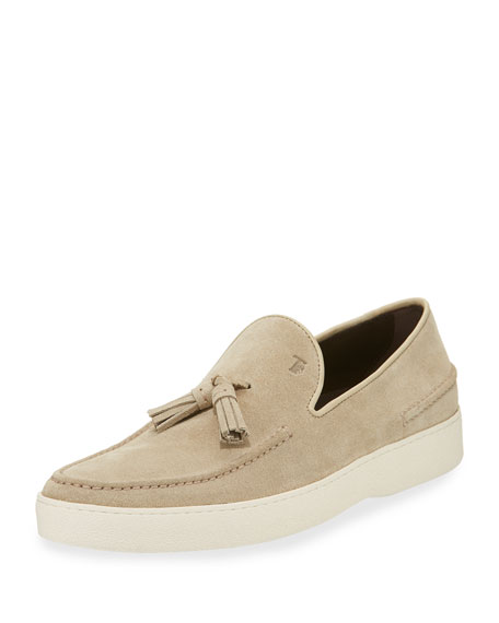 Tod's Men's Suede Casual Sport Loafer, Light Beige