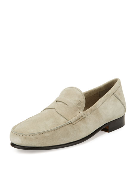 Tod's Gommini Suede Penny Loafer, Ivory