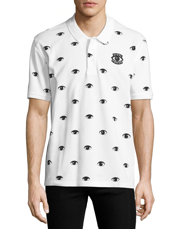 5ad7645a1a8 Kenzo Eyes Icon Polo Shirt, White | Neiman Marcus
