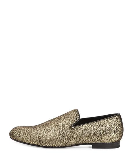Sloane Metallic Textured Fabric Slipper, Gold