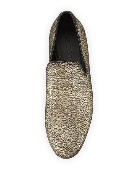 Sloane Metallic Textured Fabric Slipper, Gold