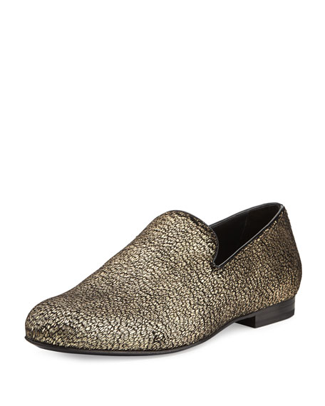 Jimmy Choo Sloane Metallic Textured Fabric Slipper, Gold