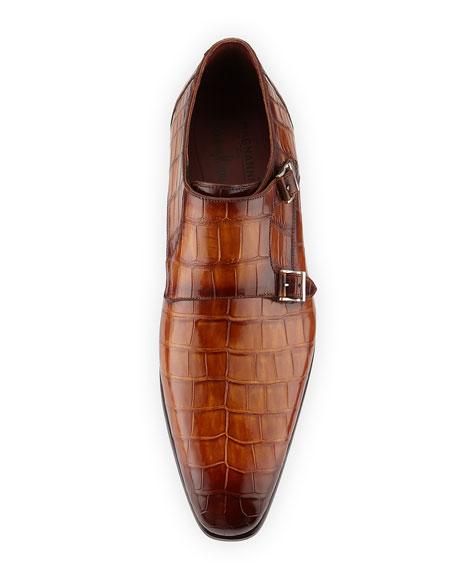 Alligator Double-Monk Shoe, Luggage Brown