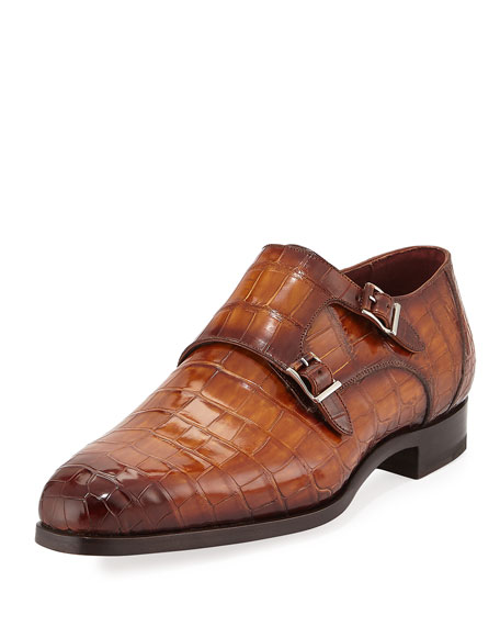 Alligator Double-Monk Shoe, Luggage Brown