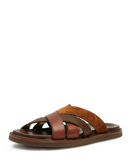 Frye Men's Andrew Leather & Suede Strap Sandal,