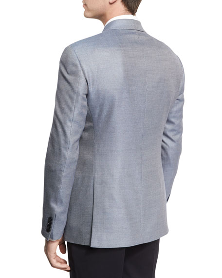 Neat Two-Button Sport Coat, Light Blue/White